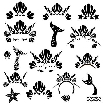 Mermaid symbols set with sea shells crowns, tails and eyes. Vector illustration.