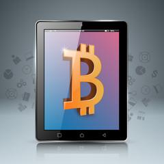 Smartphone, tablet, digital bitcoin icon Vector eps 10