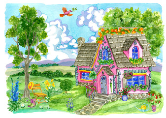 Old cottage with beautiful garden, flowers and chair. Vintage country background with summer rural landscape, garden and cute house, hand painted watercolor illustration