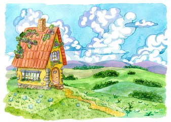 Beautiful cottage house against grassland and sky with clouds. Vintage country background with summer rural landscape, garden and cute house, hand painted watercolor illustration