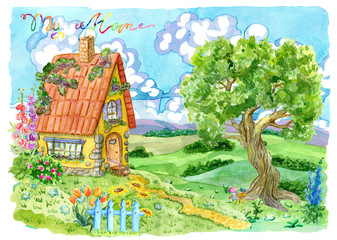 Cottage house with fence, tree, flowers and lettering. Vintage country background with summer rural landscape, garden and cute house, hand painted watercolor illustration