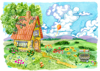 Beautiful house with well, tree and garden flowers against the summer field and ballon in sky. Vintage country background with summer rural landscape, garden and cute house, watercolor illustration