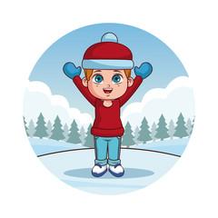 Happy boy in winter clothes round icon cartoon vector illustration graphic design
