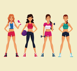 Set of fitness womens with sport wear vector illustration graphic design