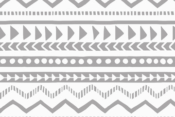 White and gray geometric background. Ethnic hand drawn pattern