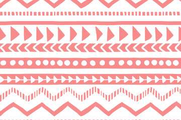 White and pink geometric background. Ethnic hand drawn pattern