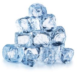 Ice cube pyramid. Clipping path.