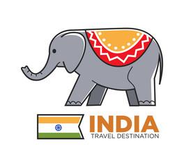 India travel symbol of Indian elephant