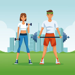 Fitness and sexy young couple at park vector illustration graphic design