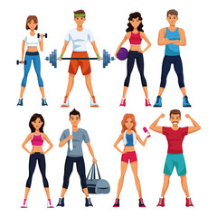 Set of fitness people with sport elements collection vector illustration graphic design