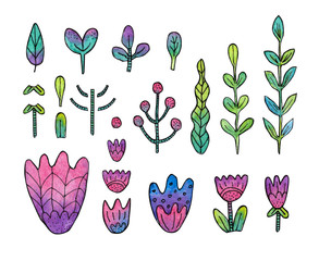 Watercolor set of colorful flowers isolated on white background. Hand-drawn illustration with floral elements in doodle style for your design.