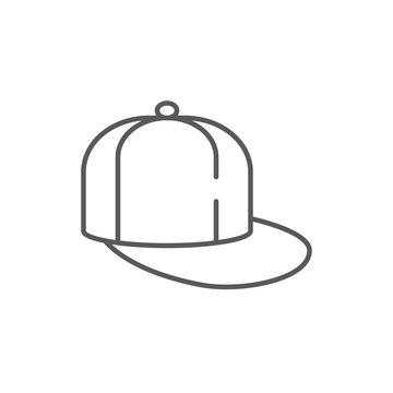 Baseball hat with flat visor editable line icon isolated on white background.