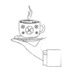 hand holding decorative flower hot coffee cup on dish vector illustration sketch