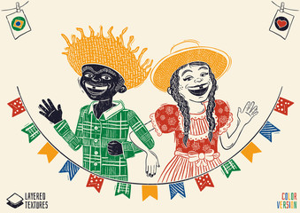 Happy multiracial hick couple waving over flags - Brazilian June Party with diversity. Detailed vector for june party themes. Removable wood texture. Made in Brazil with love.