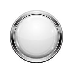 White button with chrome frame. Round glass shiny 3d icon
