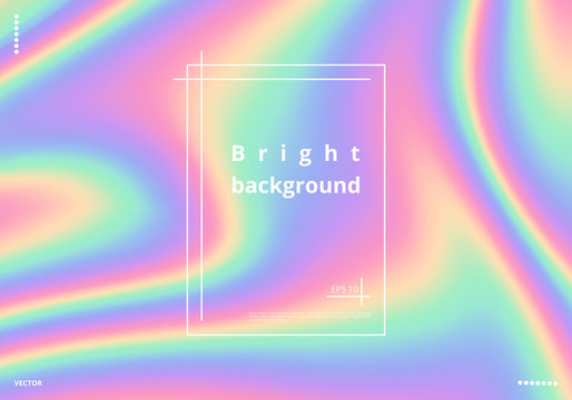 Bright holographic background with a foil texture. Multicolor rainbow vector illustration