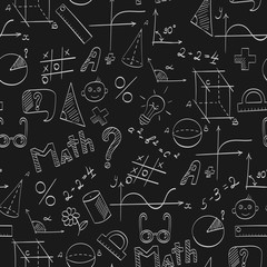 Seamless pattern on the theme of the school, of education and of the subject mathematics, the light hand-drawn graphics, formulas, and icons on dark background