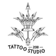Tattoo design with old school drawings vector illustration graphic