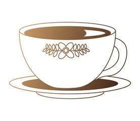 flowers decorative tea cup ceramic on dish vector illustration neon design