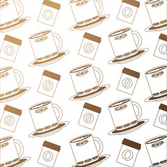 coffee cups on dishes with coffee products background vector illustration neon design