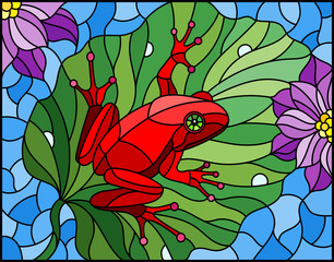 Illustration in stained glass style with abstract red frog on Lotus leaf on water and flowers