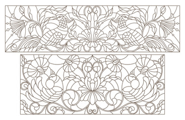 Set contour illustrations of stained glass with abstract flowers and birds and the dark outline on a white background