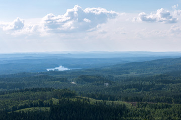 Papiers peints Forets View to beautiful forest from hill, Koli National Park, Finland