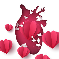 Love landscape. Medical heart illustration. Vector eps 10