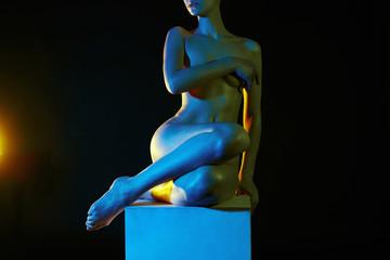 Rainbow color Naked body Girl