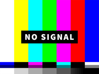 No signal TV test card of vector color bars Wall mural