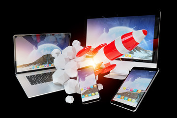 Tech devices and startup rocket connected to each other 3D rendering
