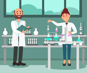 Two scientists working at laboratory. Man making notes in folder, woman doing chemical experiment. Flat vector design