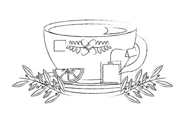 coffee cup with seeds branch on dish vector illustration sketch