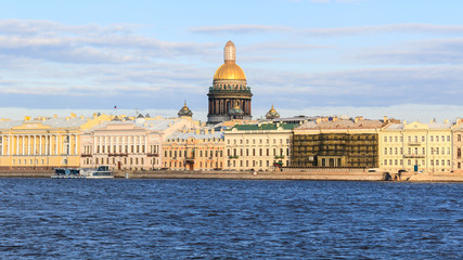 Beatiful view Neva river with Isaakievsky Cathedral in Saint Petersburg.