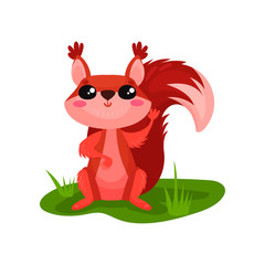 Cute red squirrel sitting on grass and waving paw. Small forest animal with fluffy tail. Flat vector element for sticker or children book
