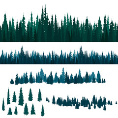 Set of seamless horizontal patterns with a forest and silhouettes of spruce. Coniferous trees
