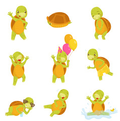 Set of cute green turtle in different actions Funny reptile with brown shell. Isolated flat vector icons