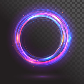A glowing circle. Round frame