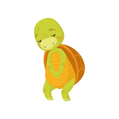 Flat vector icon of sad turtle. Green marine animal with brown shell. Cartoon reptile with upset muzzle