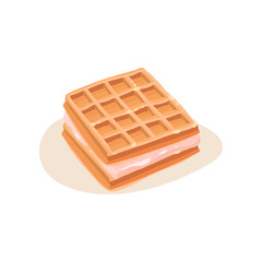 Square sandwich made of waffles and ice-cream. Appetizing dessert. Flat vector element for product packaging or menu cafe