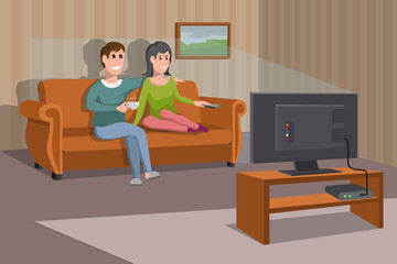 Big happy family watching TV on sofa. Man with coffee cup. Evening watching television series. Interior of the room with TV and people sitting on the couch. Vector graphics to design.