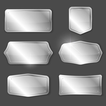 Set of metal or silver vector plaques or plates