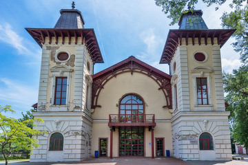 Bratislava, Slovakia May 24, 2018: Theater Arena (Divadlo Aréna) in Bratislava, Slovakia. This is one of the oldest theatres in Bratislava. It was established in 1828 on the right bank of Danube.