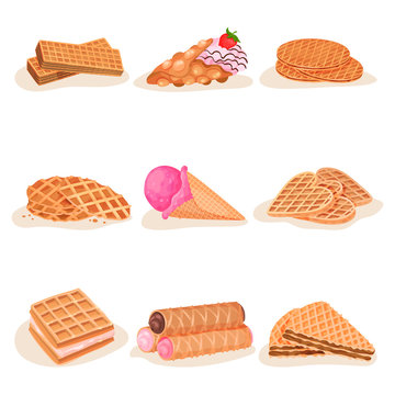 Flat vector set of delicious waffle desserts. Tasty ice-cream, sweet snacks for breakfast. Street fast food