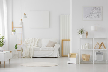 Simple white living room interior