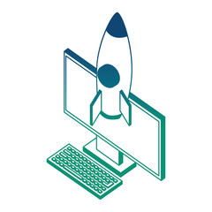 desktop computer with rocket launcher isometric icon vector illustration design