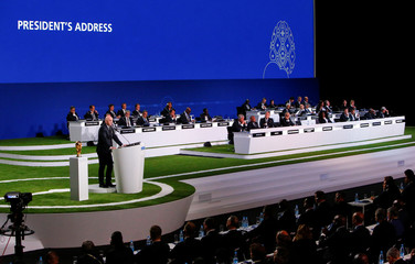 Participants listen to FIFA President Infantino during the 68th FIFA Congress in Moscow