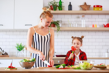 Picture of woman with her daughter cutting vegetables in kitchen