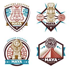Vintage Colored Maya Civilization Emblems Set