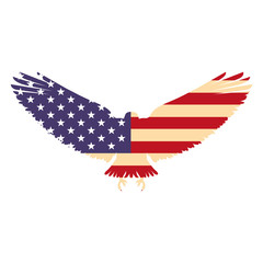 united states of america flag in eagle silhouette vector illustration